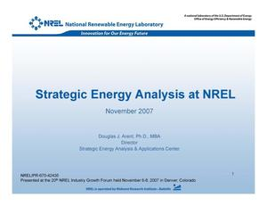 Primary view of object titled 'Strategic Energy Analysis at NREL (Presentation)'.
