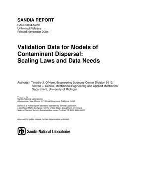 Primary view of object titled 'Validation data for models of contaminant dispersal : scaling laws and data needs.'.