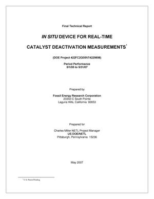 Primary view of object titled 'IN SITU Device for Real-Time Catalyst Deactivation Measurements'.