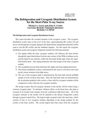 Primary view of object titled 'The refrigeration and cryogenic distribution system for the shortpulse x-ray source'.