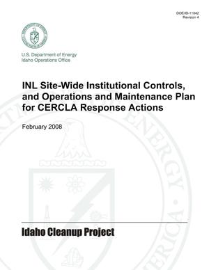 Primary view of object titled 'INL SITEWIDE INSTITUTIONAL CONTROLS, AND OPERATIONS AND MAINTENANCE PLAN FOR CERCLA RESPONSE ACTIONS'.
