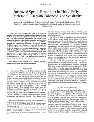 Primary view of object titled 'Improved Spatial Resolution in Thick, Fully-Depleted CCDs withEnhanced Red Sensitivity'.