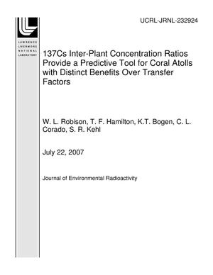 Primary view of object titled '137Cs Inter-Plant Concentration Ratios Provide a Predictive Tool for Coral Atolls with Distinct Benefits Over Transfer Factors'.