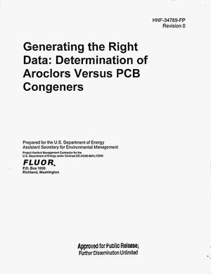 Primary view of object titled 'GENERATING THE RIGHT PCB DATA DETERMINATION OF AROCLORS VERSUS PCB CONGENERS'.