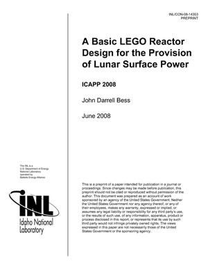 Primary view of object titled 'A Basic LEGO Reactor Design for the Provision of Lunar Surface Power'.