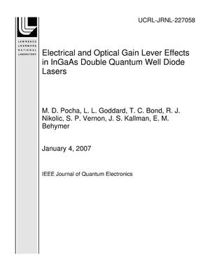 Primary view of object titled 'Electrical and Optical Gain Lever Effects in InGaAs Double Quantum Well Diode Lasers'.