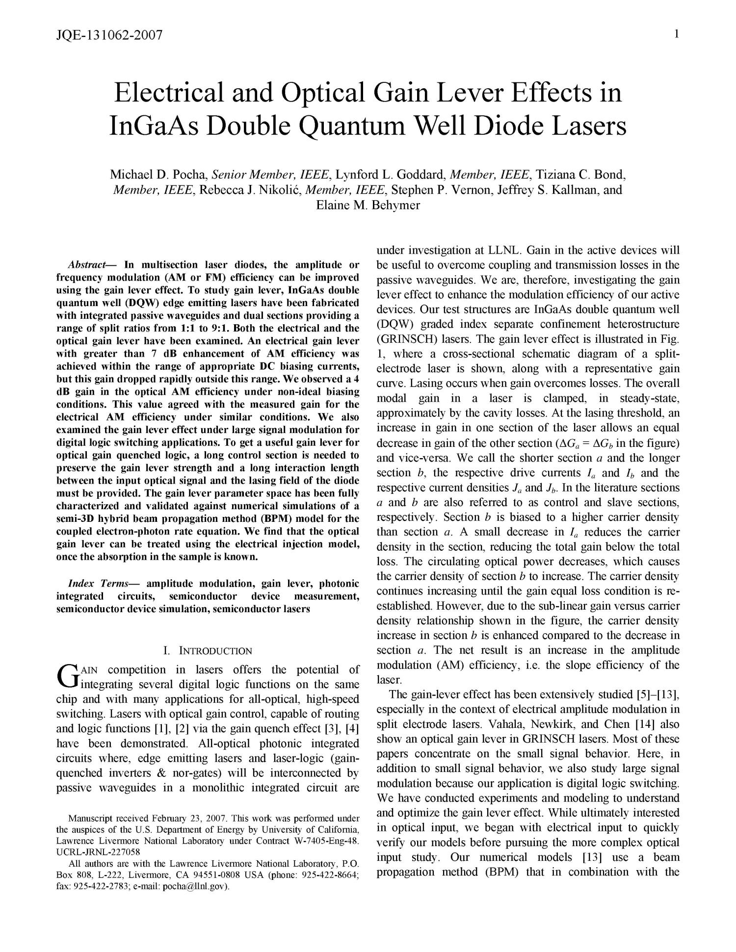Electrical and Optical Gain Lever Effects in InGaAs Double Quantum Well Diode Lasers                                                                                                      [Sequence #]: 3 of 12