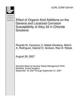 Primary view of object titled 'Effect of Organic Acid Additions on the General and Localized Corrosion Susceptibility of Alloy 22 in Chloride Solutions'.