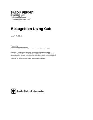 Primary view of object titled 'Recognition using gait.'.
