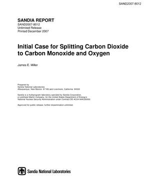 Primary view of object titled 'Initial case for splitting carbon dioxide to carbon monoxide and oxygen.'.