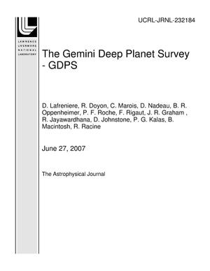 Primary view of object titled 'The Gemini Deep Planet Survey - GDPS'.