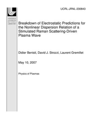 Primary view of object titled 'Breakdown of Electrostatic Predictions for the Nonlinear Dispersion Relation of a Stimulated Raman Scattering-Driven Plasma Wave'.