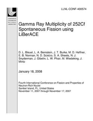 Primary view of object titled 'Gamma Ray Multiplicity of 252Cf Spontaneous Fission using LiBerACE'.