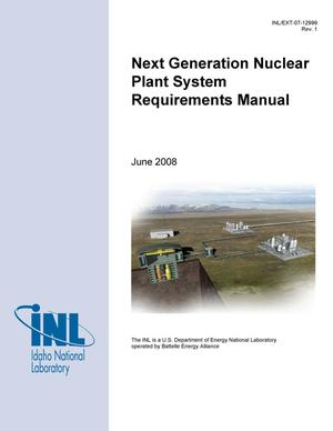 Primary view of object titled 'Next Generation Nuclear Plant System Requirements Manual'.