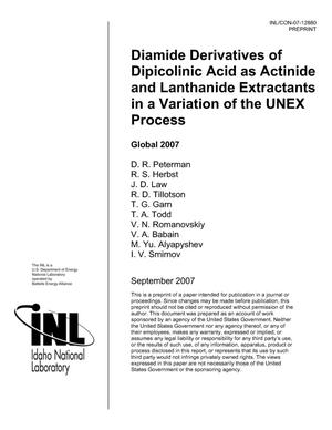 Primary view of object titled 'DIAMIDE DERIVATIVES OF DIPICOLINIC ACID AS ACTINIDE AND LANTHANIDE EXTRACTANTS IN A VARIATION OF THE UNEX PROCESS'.