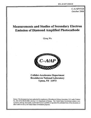 Primary view of object titled 'Measurements and Studies of Secondary Electron Emission of Diamond Amplified Photocathode'.