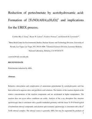 Primary view of object titled 'Reduction of pertechnetate by acetohydroxamic acid: Formation of [TcNO(AHA)2(H2O)]+ and implications for the UREX process.'.