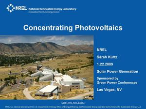 Primary view of object titled 'Concentrating Photovoltaics (Presentation)'.