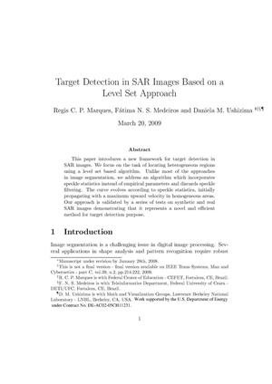 Primary view of object titled 'Target Detection in SAR Images Based on a Level Set Approach'.