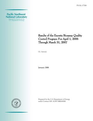 Primary view of object titled 'Results of the Excreta Bioassay Quality Control Program For April 1, 2006 Through March 31, 2007'.