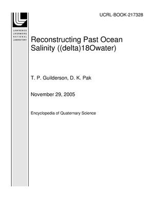 Primary view of object titled 'Reconstructing Past Ocean Salinity ((delta)18Owater)'.