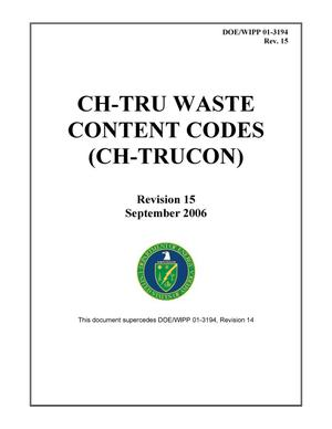 Primary view of object titled 'CH-TRU Waste Content Codes (CH-TRUCON)'.