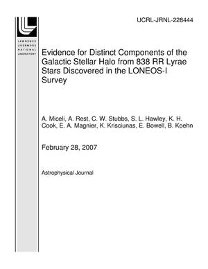 Primary view of object titled 'Evidence for Distinct Components of the Galactic Stellar Halo from 838 RR Lyrae Stars Discovered in the LONEOS-I Survey'.