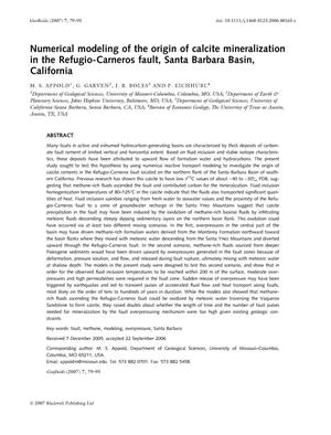 Primary view of object titled 'Numerical modeling of the origin of calcite mineralization in the Refugio-Carneros fault, Santa Barbara Basin, California: GEOFLUIDS, vol. 7, p. 79-95, 2007.'.