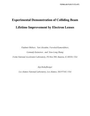 Primary view of object titled 'Experimental demonstration of colliding beam lifetime improvement by electron lenses'.