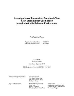 Primary view of object titled 'Investigation of Pressurized Entrained-Flow Kraft Black Liquor Gasification in an Industrially Relevant Environment'.