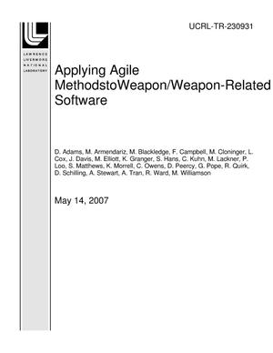 Primary view of object titled 'Applying Agile MethodstoWeapon/Weapon-Related Software'.