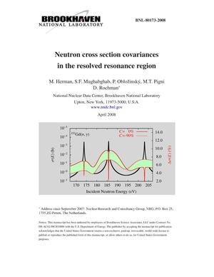 Primary view of object titled 'Neutron cross section covariances in the resolved resonance region.'.