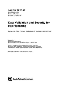 Primary view of object titled 'Data validation and security for reprocessing.'.
