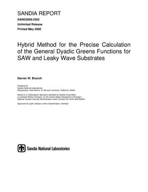 Primary view of object titled 'Hybrid method for the precise calculation of the general dyadic Greens functions for SAW and leaky wave substrates.'.