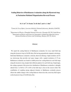 Primary view of object titled 'Scaling Behavior of Barkhausen Avalanches along the Hysteresis loop in Nucleation-Mediated Magnetization Reversal Process'.