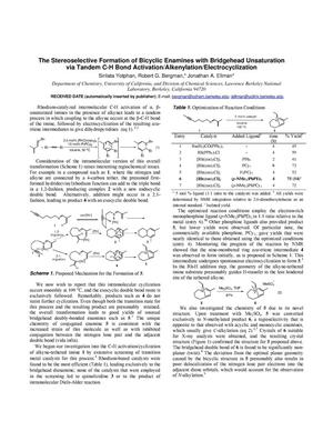 Primary view of object titled 'The Stereoselective Formation of Bicyclic Enamines with Bridgehead Unsaturation via Tandem C-H Bond Activation/Alkenylation/Electrocyclization'.