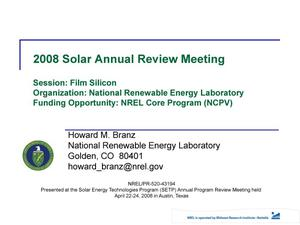 Primary view of object titled 'NREL Core Program (NCPV), Session: Film Silicon (Presentation)'.