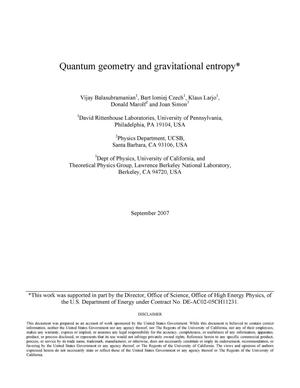 Primary view of object titled 'Quantum geometry and gravitational entropy'.