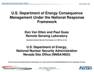 Primary view of object titled 'U.S. Department of Energy Consequence Management Under the National Response Framework'.