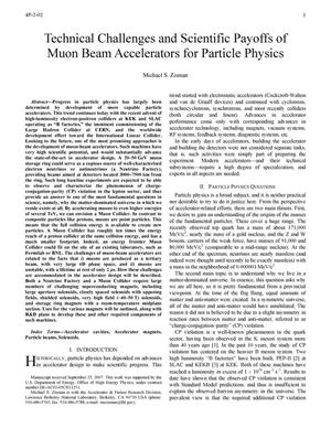 Primary view of object titled 'Technical Challenges and Scientific Payoffs of Muon BeamAccelerators for Particle Physics'.