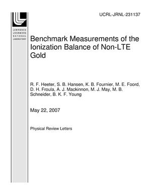 Primary view of object titled 'Benchmark Measurements of the Ionization Balance of Non-LTE Gold'.