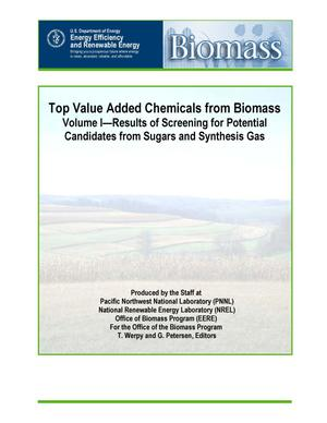 Primary view of object titled 'Top Value Added Chemicals From Biomass: I. Results of Screening for Potential Candidates from Sugars and Synthesis Gas'.