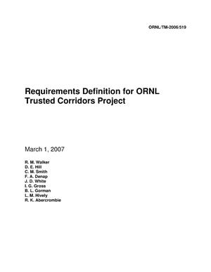 Primary view of object titled 'Requirements Definition for ORNL Trusted Corridors Project'.
