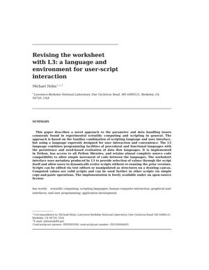 Primary view of object titled 'Revising the worksheet with L3: a language and environment foruser-script interaction'.