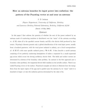 Primary view of object titled 'How an antenna launches its input power into radiation: thepattern of the Poynting vector at and near an antenna'.