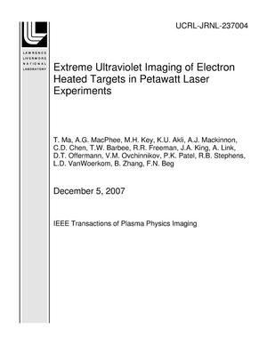 Primary view of object titled 'Extreme Ultraviolet Imaging of Electron Heated Targets in Petawatt Laser Experiments'.