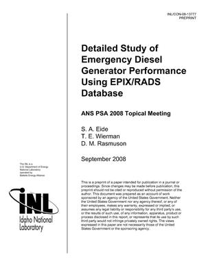 Primary view of object titled 'Detailed Study of Emergency Diesel Generator Performance Using EPIX/RADS Database'.