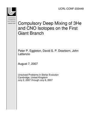 Primary view of object titled 'Compulsory Deep Mixing of 3He and CNO Isotopes on the First Giant Branch'.