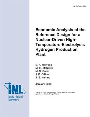 Primary view of object titled 'Economic Analysis of the Reference Design for a Nuclear-Driven High-Temperature-Electrolysis Hydrogen Production Plant'.
