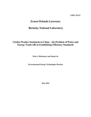 Primary view of object titled 'Clothes washer standards in China -- The problem of water andenergy trade-offs in establishing efficiency standards'.